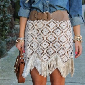 Judith March Lace Fringed Skirt